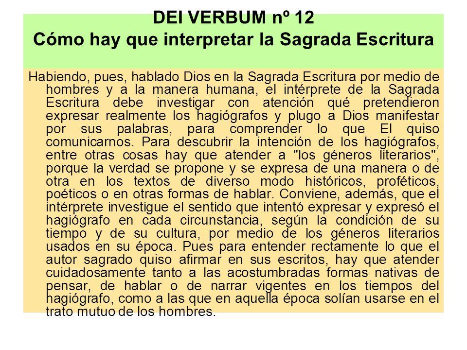 DEI VERBUM nº 12 Cómo hay que interpretar la Sagrada Escritura