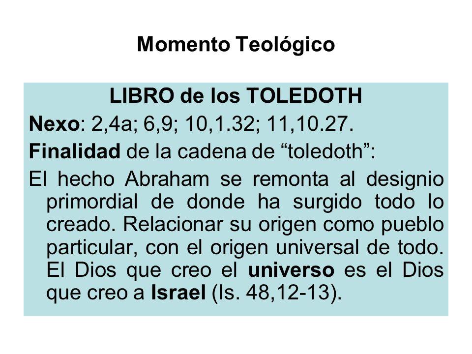 Momento TeológicoLIBRO de los TOLEDOTH. Nexo: 2,4a; 6,9; 10,1.32; 11,10.27. Finalidad de la cadena de toledoth :