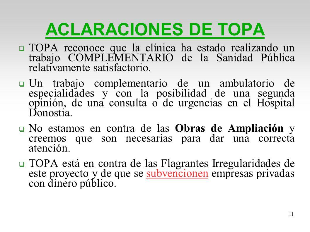 ACLARACIONES DE TOPA TOPA reconoce que la clínica ha estado realizando un trabajo COMPLEMENTARIO de la Sanidad Pública relativamente satisfactorio.