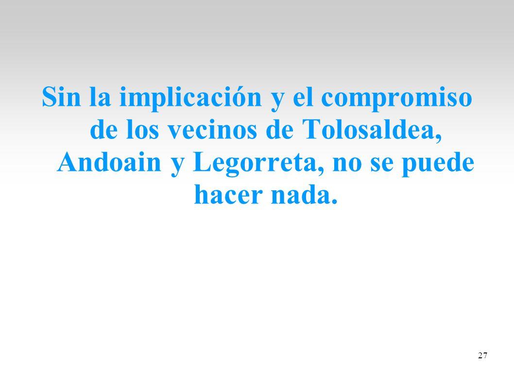 Sin la implicación y el compromiso de los vecinos de Tolosaldea, Andoain y Legorreta, no se puede hacer nada.