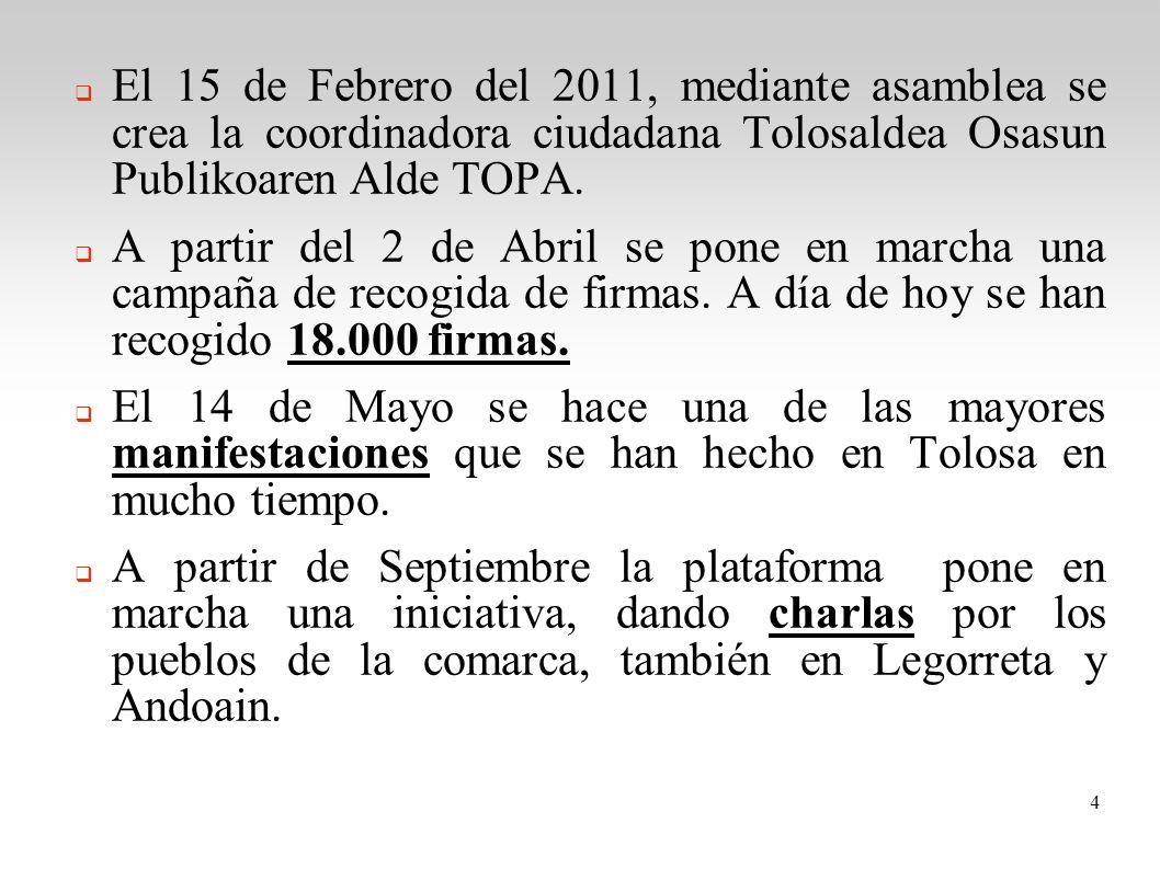 El 15 de Febrero del 2011, mediante asamblea se crea la coordinadora ciudadana Tolosaldea Osasun Publikoaren Alde TOPA.