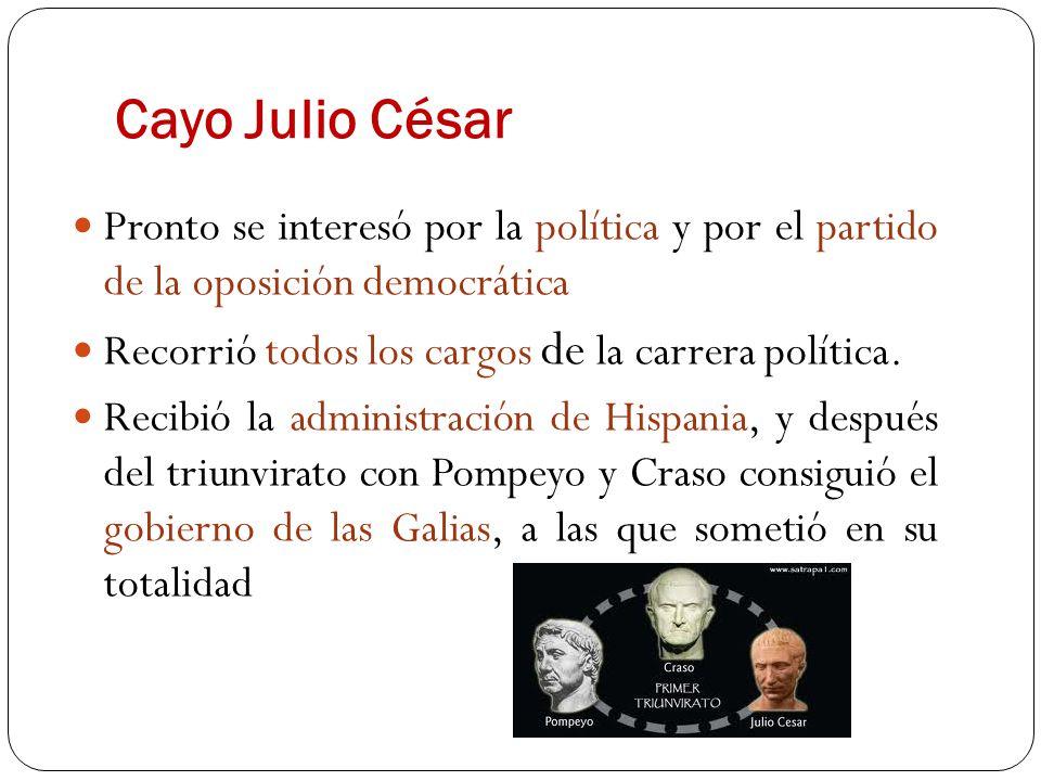 Cayo Julio César Pronto se interesó por la política y por el partido de la oposición democrática. Recorrió todos los cargos de la carrera política.
