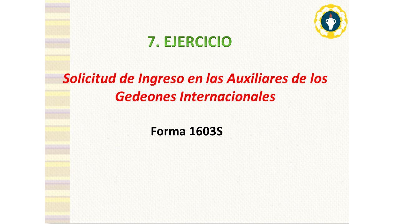 Solicitud de Ingreso en las Auxiliares de los Gedeones Internacionales