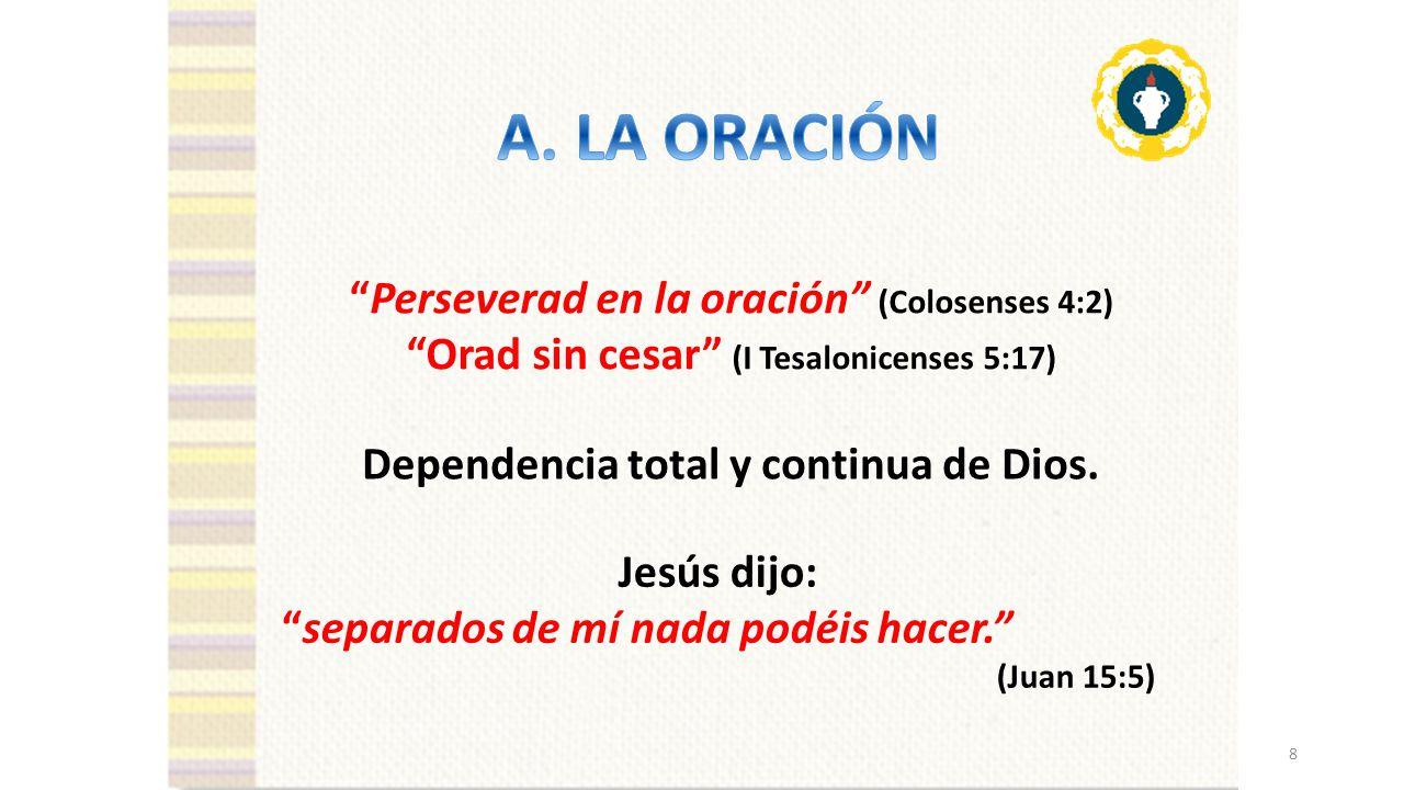LA ORACION A. LA ORACIÓN Perseverad en la oración (Colosenses 4:2)