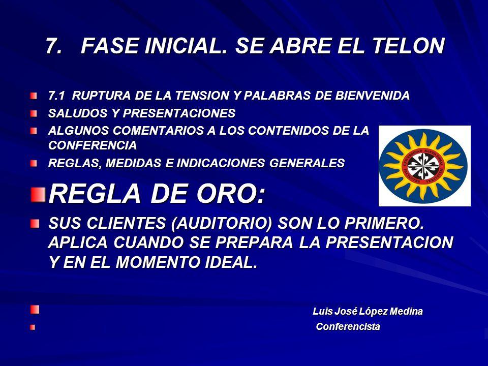 7. FASE INICIAL. SE ABRE EL TELON