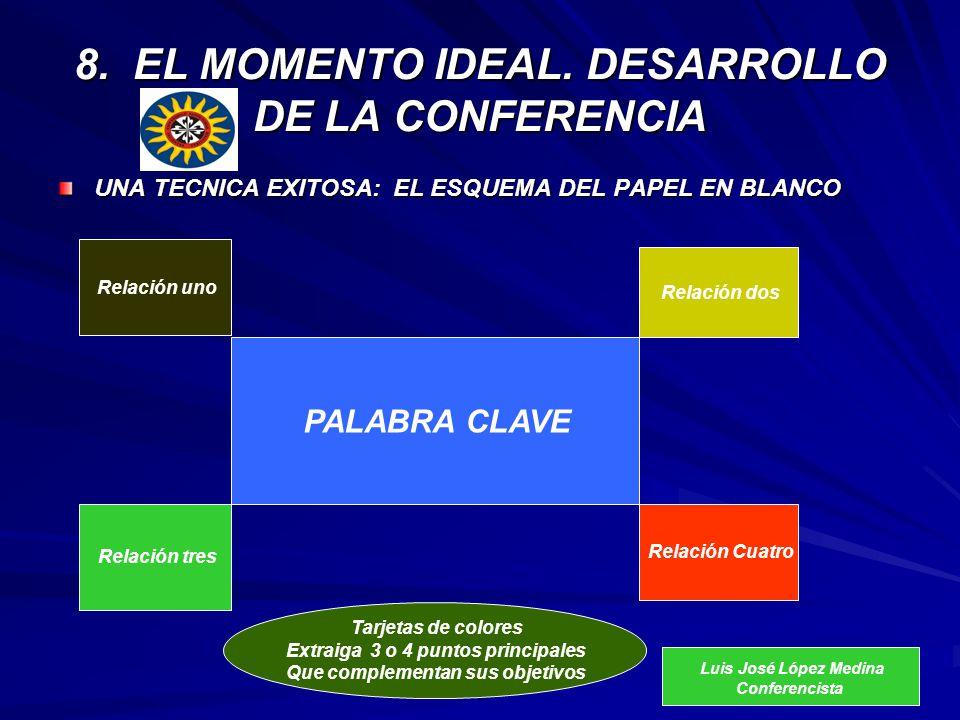 8. EL MOMENTO IDEAL. DESARROLLO DE LA CONFERENCIA