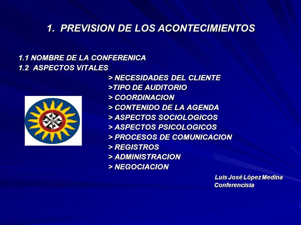 1. PREVISION DE LOS ACONTECIMIENTOS