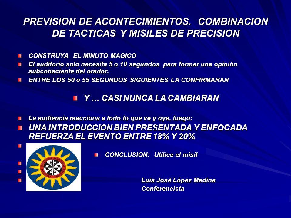 Y … CASI NUNCA LA CAMBIARAN CONCLUSION: Utilice el misil