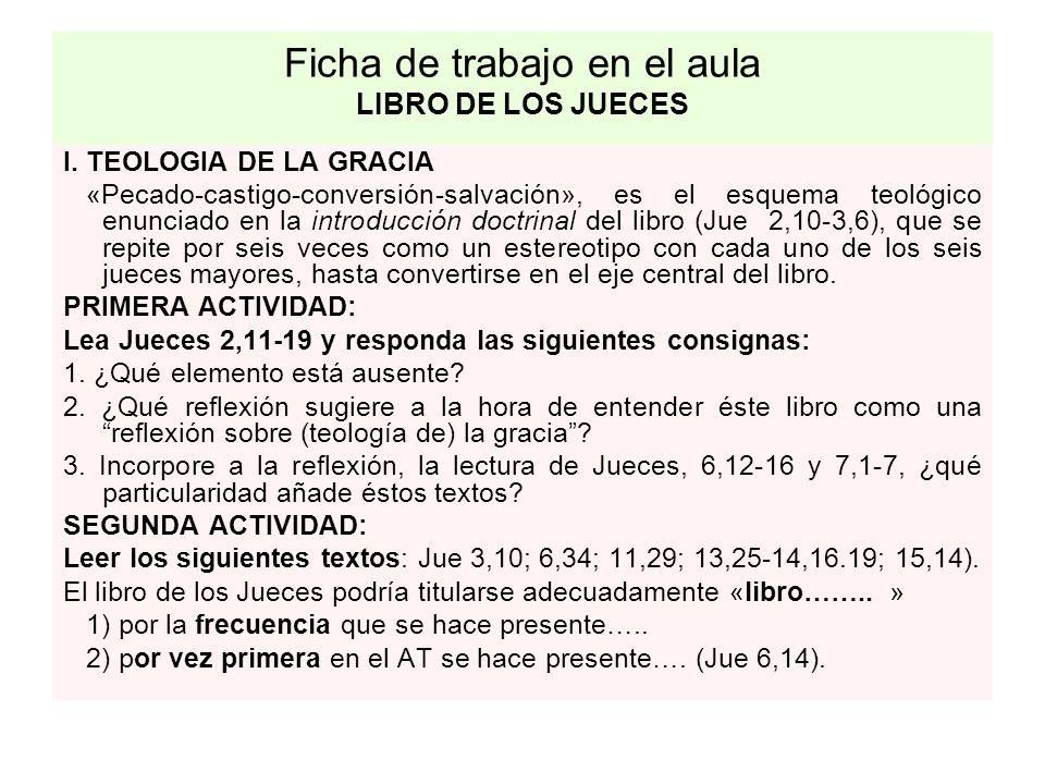 Ficha de trabajo en el aula LIBRO DE LOS JUECES