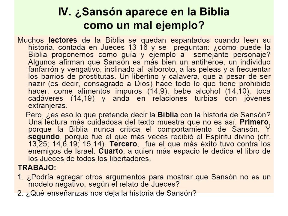 IV. ¿Sansón aparece en la Biblia como un mal ejemplo