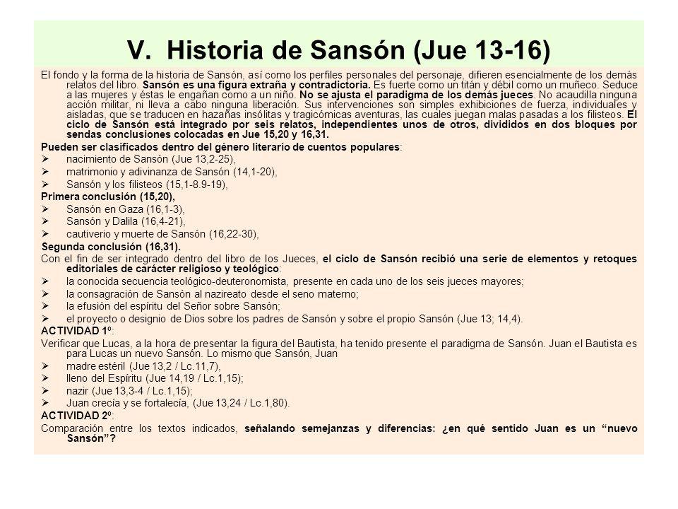 V. Historia de Sansón (Jue 13-16)