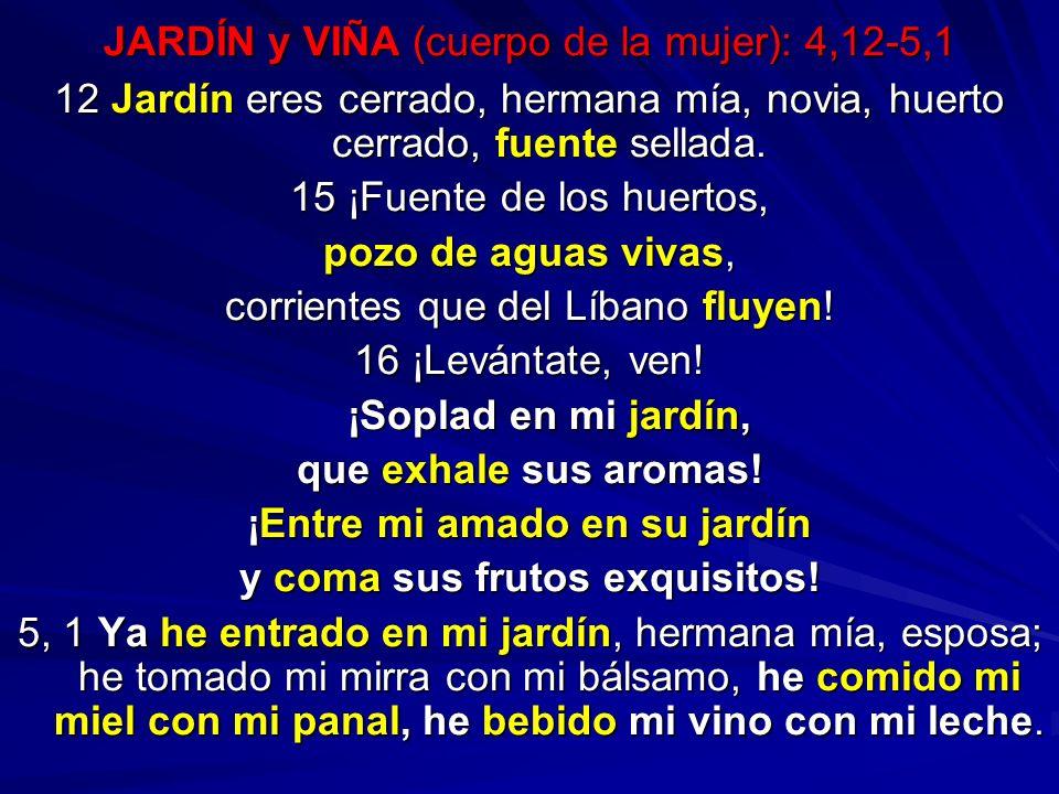 JARDÍN y VIÑA (cuerpo de la mujer): 4,12-5,1
