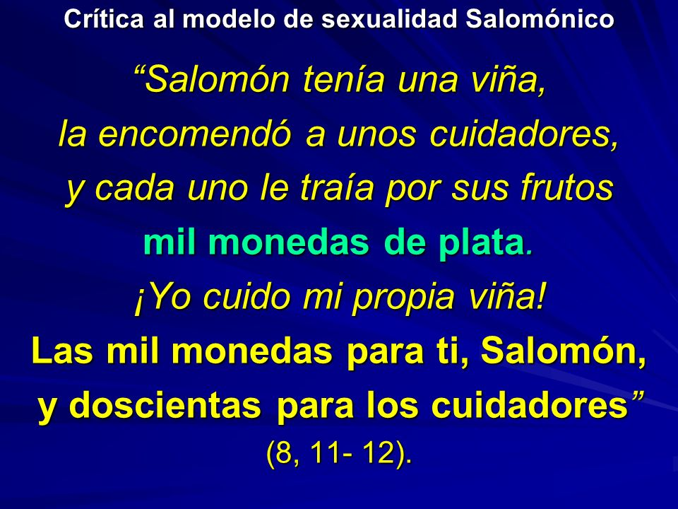 Crítica al modelo de sexualidad Salomónico