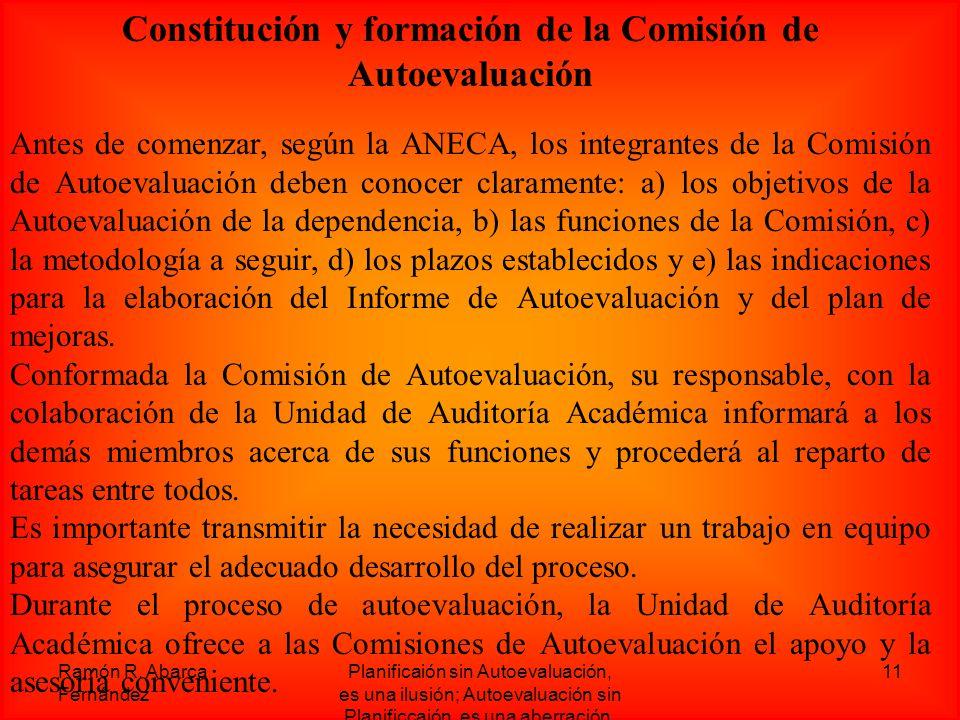 Constitución y formación de la Comisión de Autoevaluación