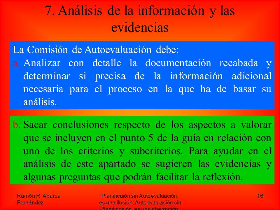 7. Análisis de la información y las evidencias