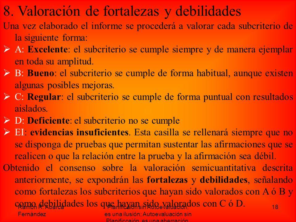 8. Valoración de fortalezas y debilidades