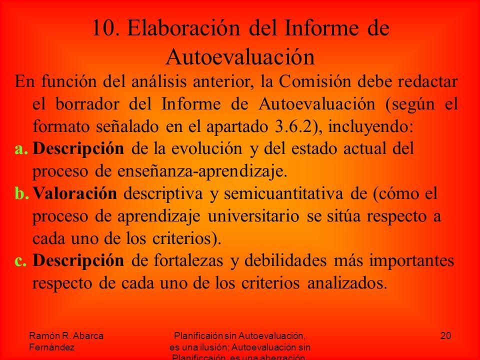 10. Elaboración del Informe de Autoevaluación