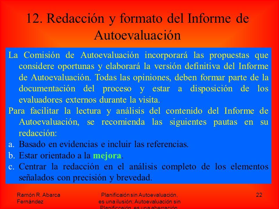 12. Redacción y formato del Informe de Autoevaluación