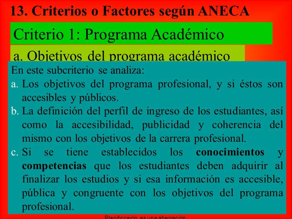 13. Criterios o Factores según ANECA