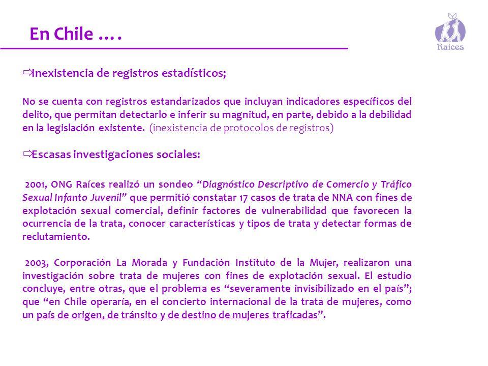 En Chile …. Inexistencia de registros estadísticos;
