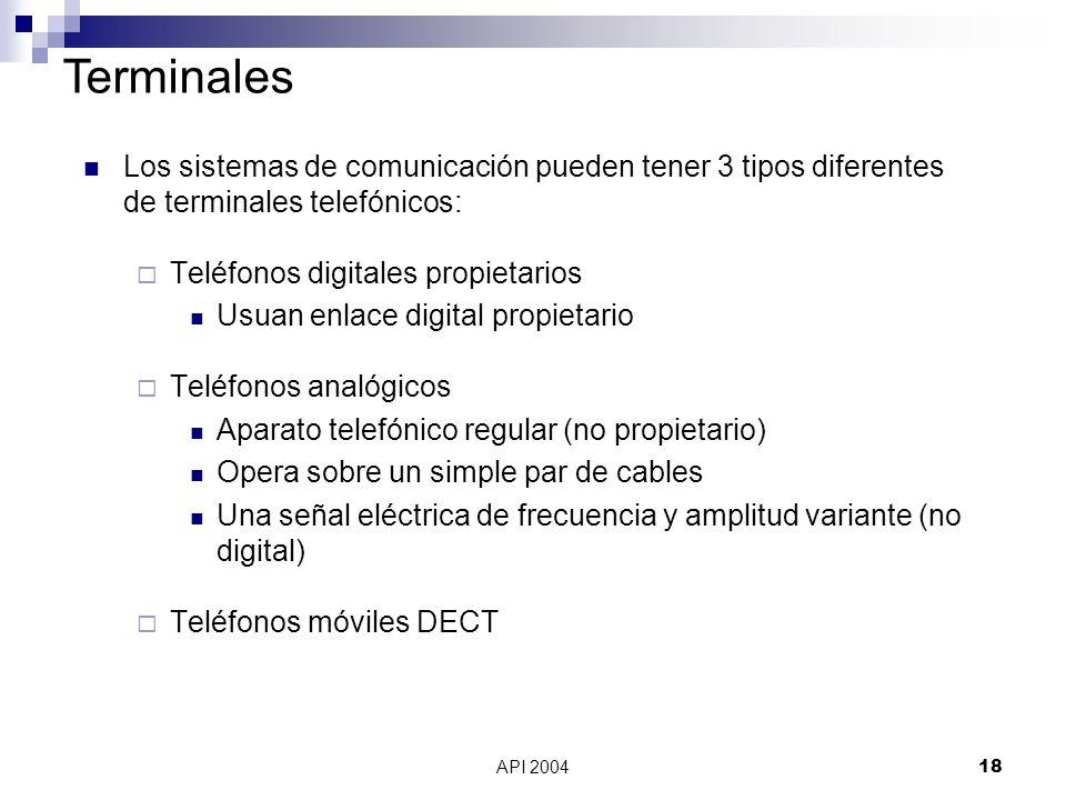 Terminales Los sistemas de comunicación pueden tener 3 tipos diferentes de terminales telefónicos: