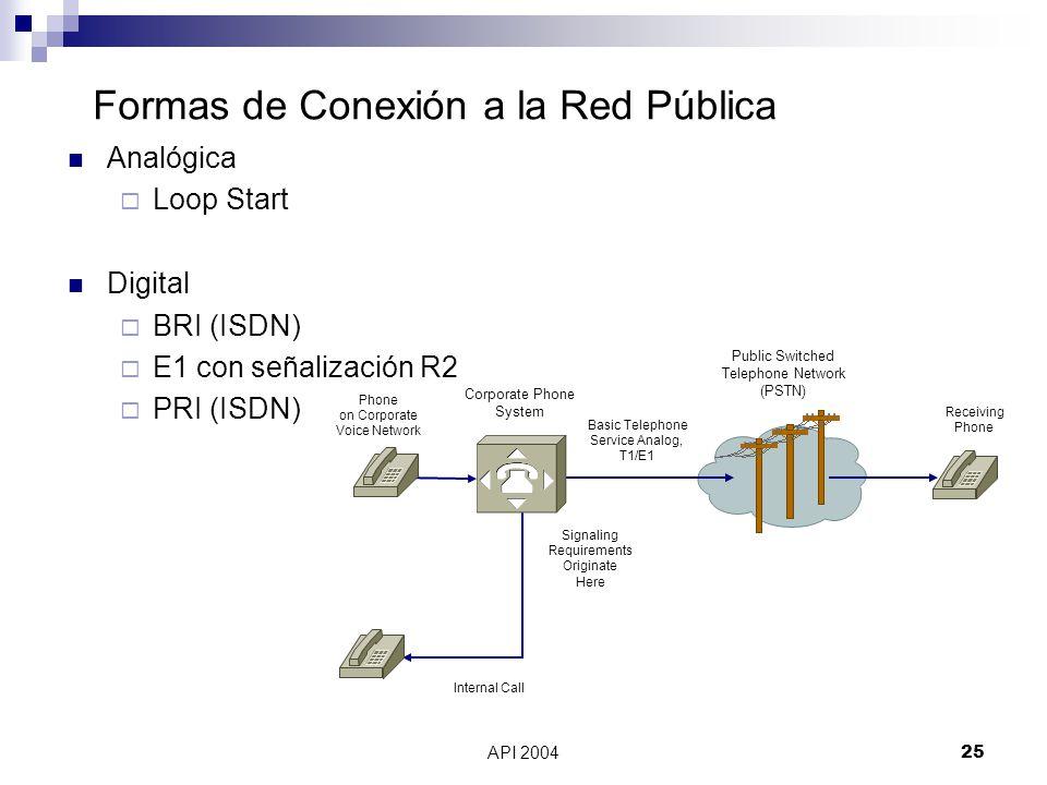 Formas de Conexión a la Red Pública