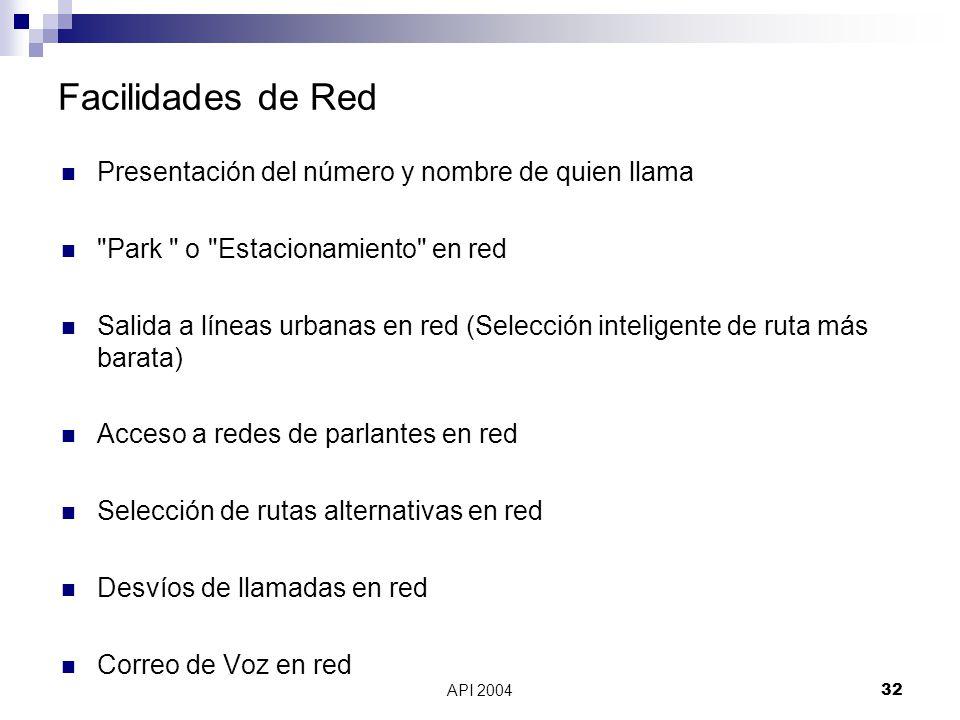 Facilidades de Red Presentación del número y nombre de quien llama
