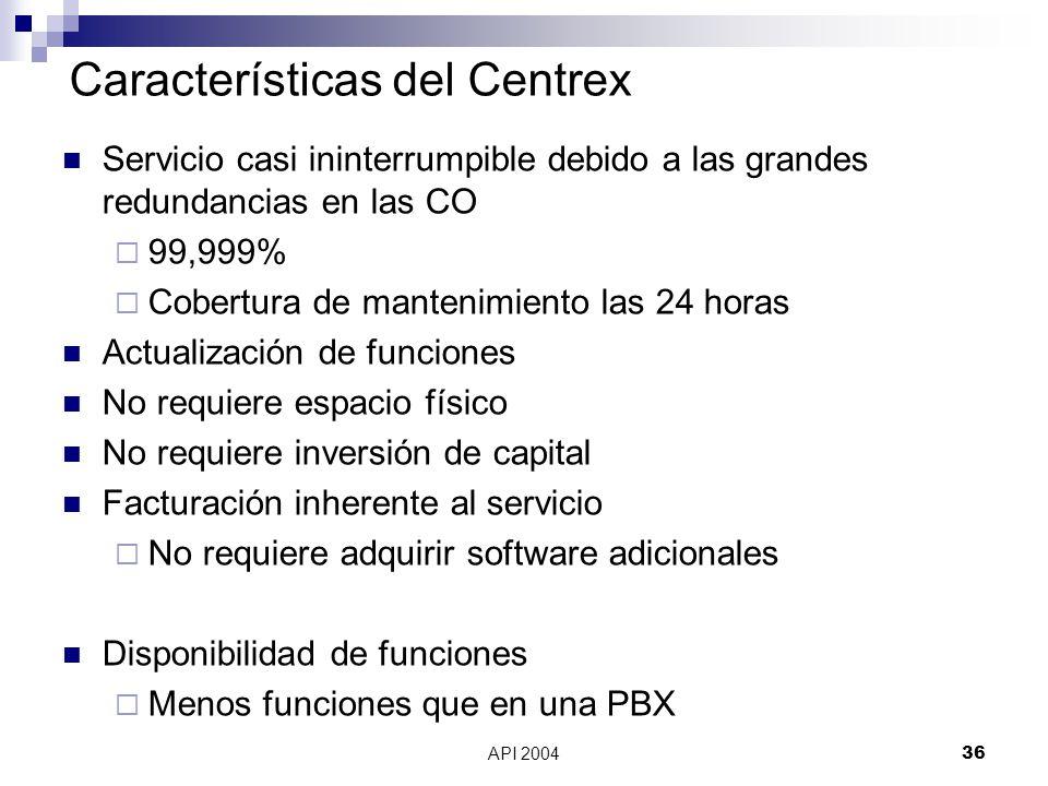 Características del Centrex
