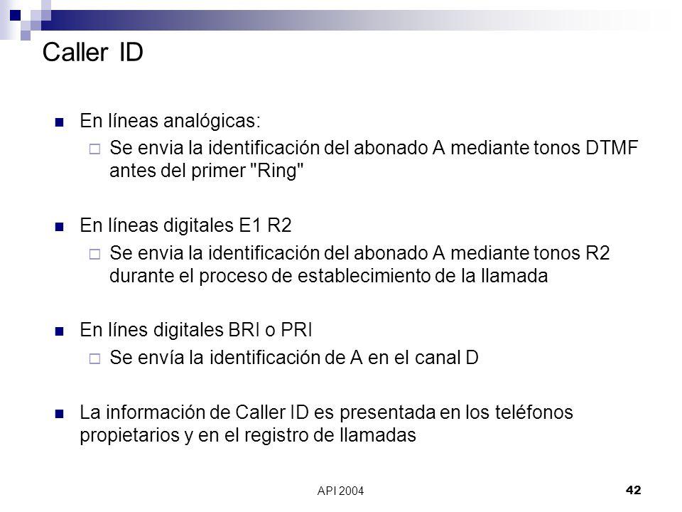 Caller ID En líneas analógicas: