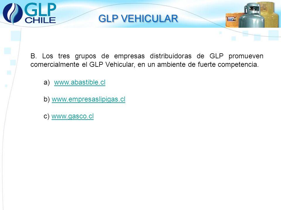 B. Los tres grupos de empresas distribuidoras de GLP promueven comercialmente el GLP Vehicular, en un ambiente de fuerte competencia.