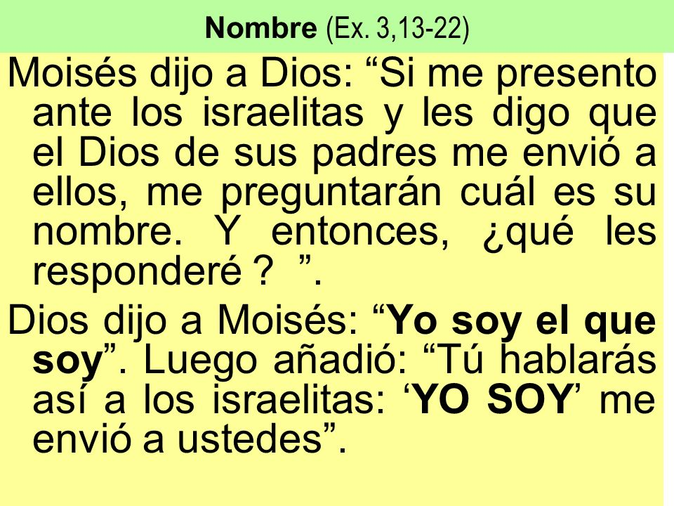 Nombre (Ex. 3,13-22)
