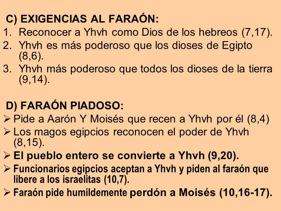 C) EXIGENCIAS AL FARAÓN: