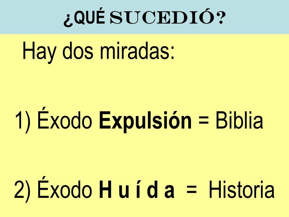 1) Éxodo Expulsión = Biblia 2) Éxodo H u í d a = Historia