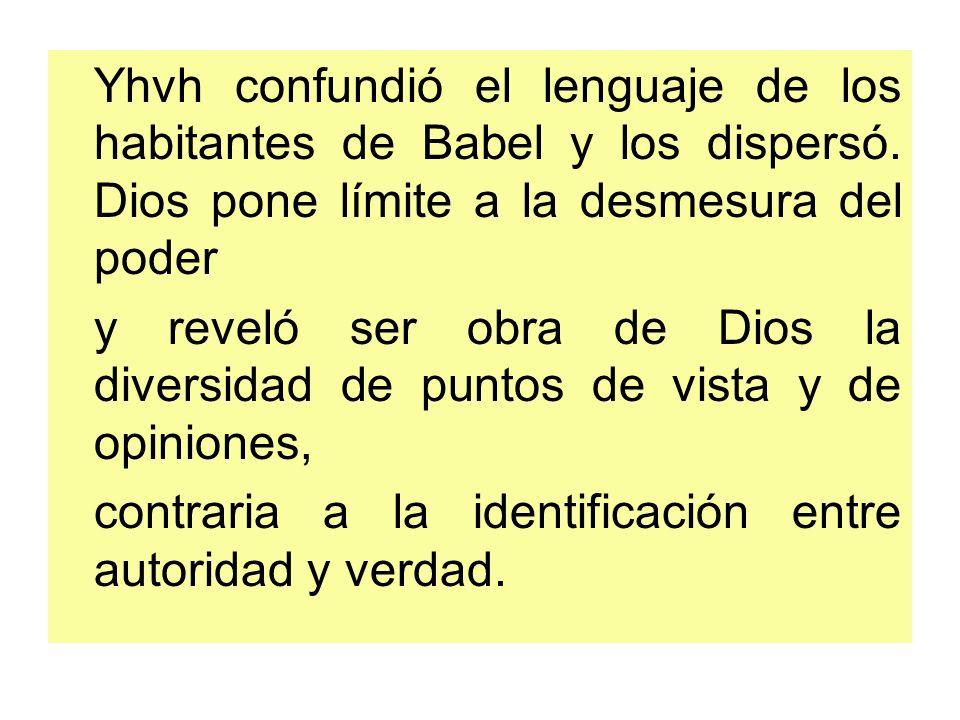 Yhvh confundió el lenguaje de los habitantes de Babel y los dispersó
