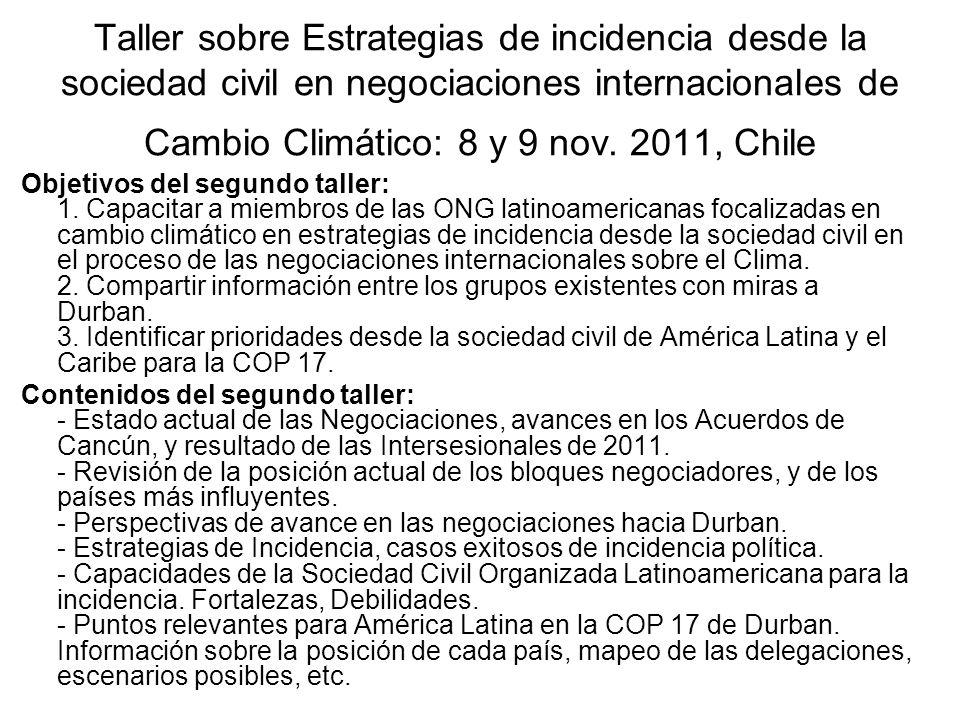 Taller sobre Estrategias de incidencia desde la sociedad civil en negociaciones internacionales de Cambio Climático: 8 y 9 nov. 2011, Chile