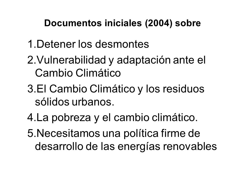 Documentos iniciales (2004) sobre
