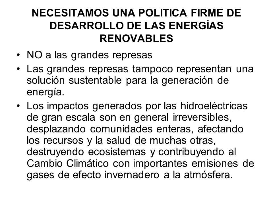 NECESITAMOS UNA POLITICA FIRME DE DESARROLLO DE LAS ENERGÍAS RENOVABLES