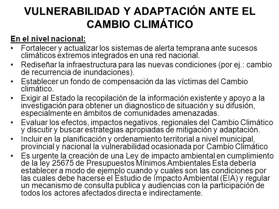 VULNERABILIDAD Y ADAPTACIÓN ANTE EL CAMBIO CLIMÁTICO