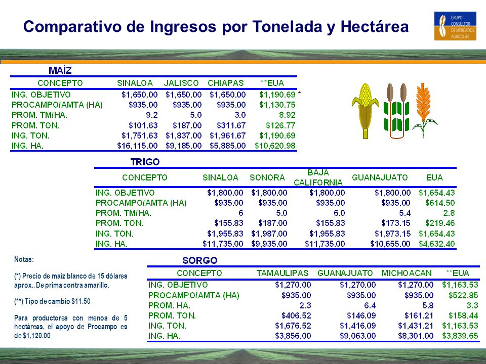 Comparativo de Ingresos por Tonelada y Hectárea