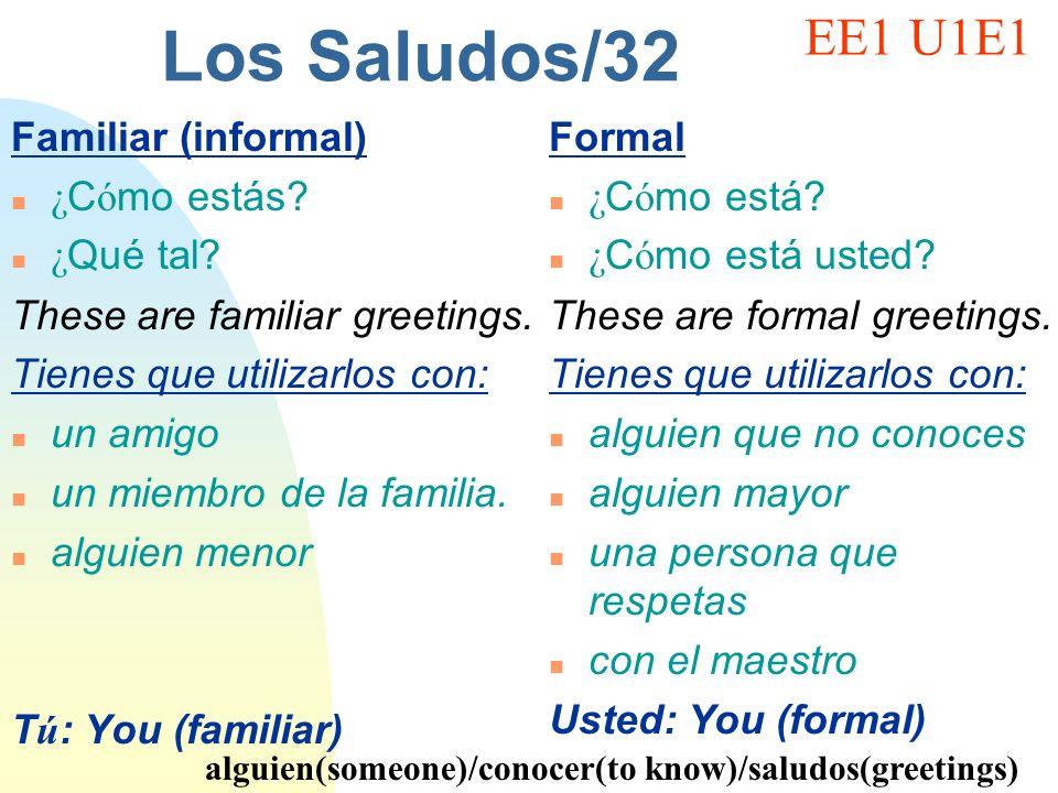 Los Saludos/32 EE1 U1E1 Familiar (informal) ¿Cómo estás ¿Qué tal