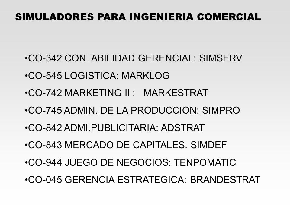 SIMULADORES PARA INGENIERIA COMERCIAL