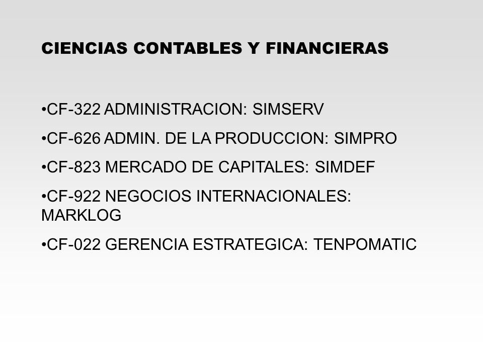 CIENCIAS CONTABLES Y FINANCIERAS