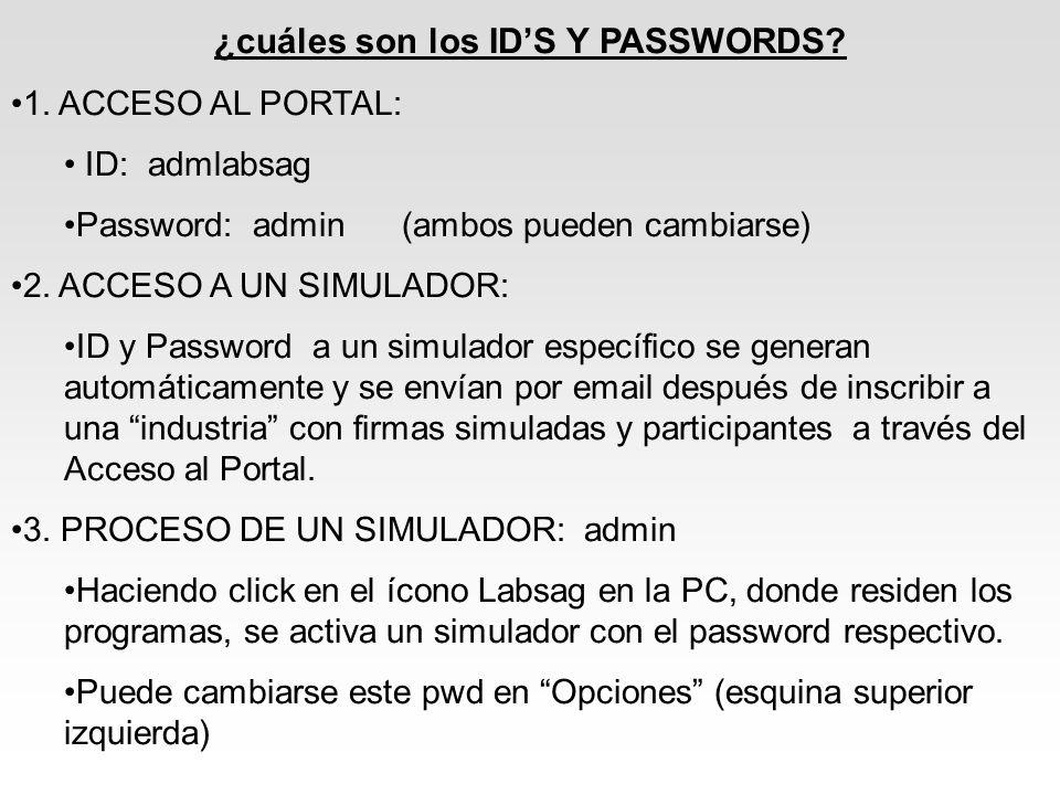 ¿cuáles son los ID'S Y PASSWORDS