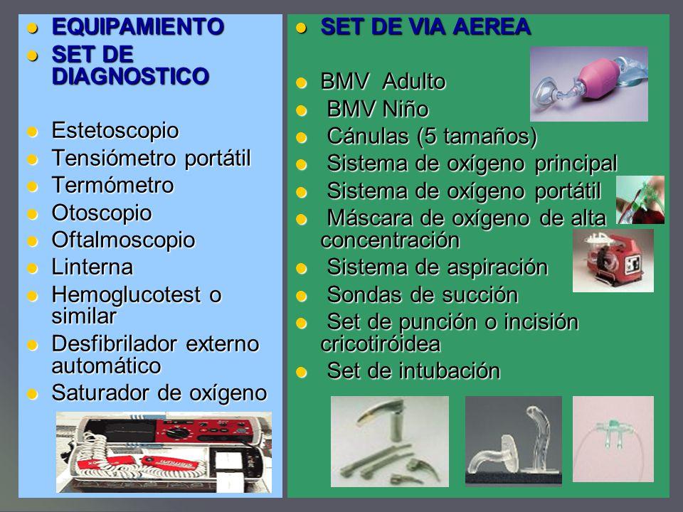 EQUIPAMIENTO SET DE DIAGNOSTICO. Estetoscopio. Tensiómetro portátil. Termómetro. Otoscopio. Oftalmoscopio.