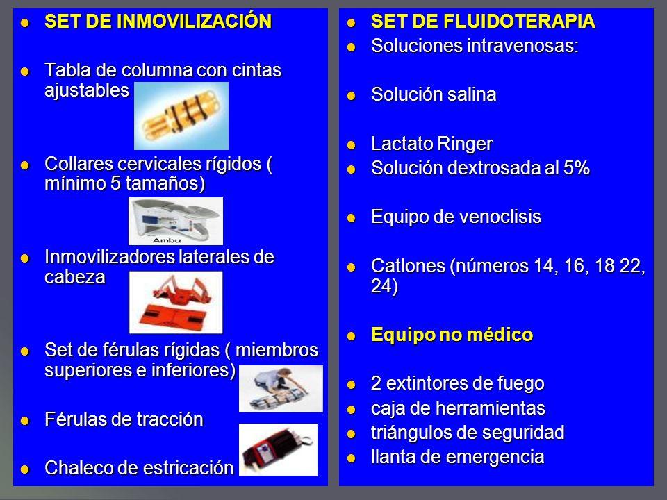SET DE INMOVILIZACIÓN Tabla de columna con cintas ajustables. Collares cervicales rígidos ( mínimo 5 tamaños)