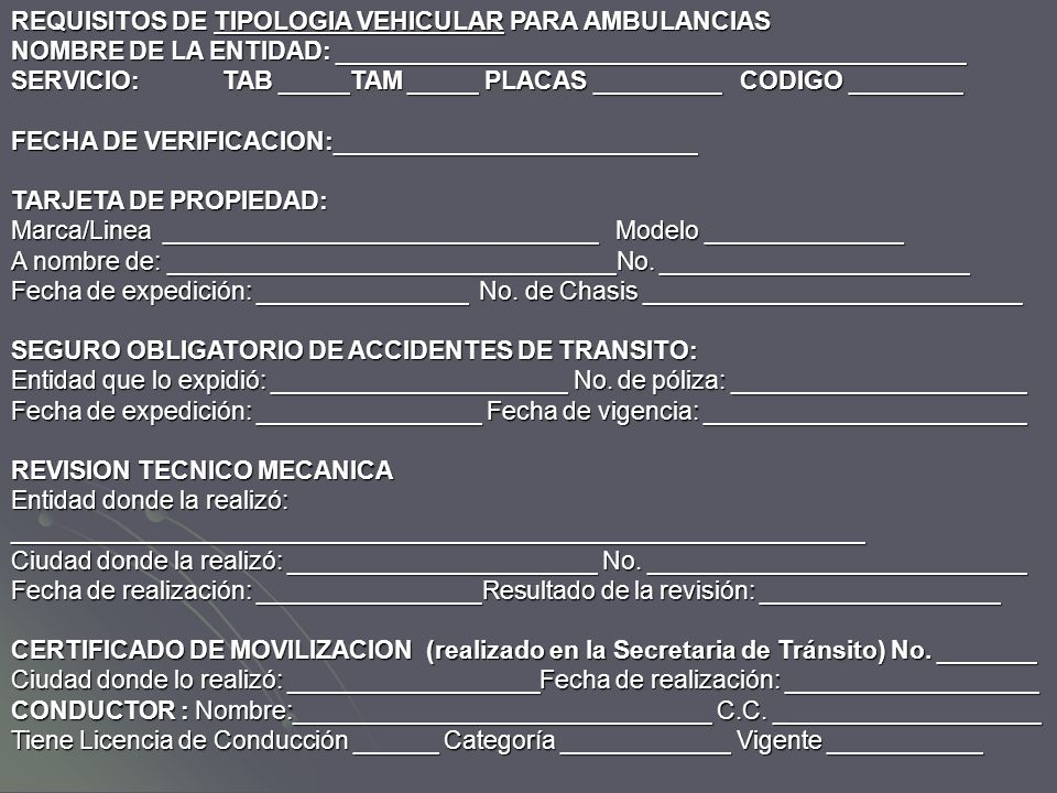 REQUISITOS DE TIPOLOGIA VEHICULAR PARA AMBULANCIAS