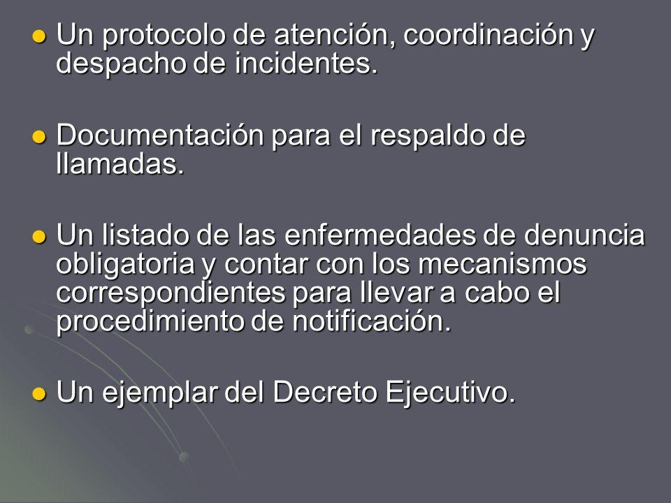 Un protocolo de atención, coordinación y despacho de incidentes.
