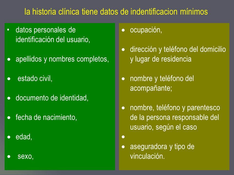 la historia clínica tiene datos de indentificacion mínimos