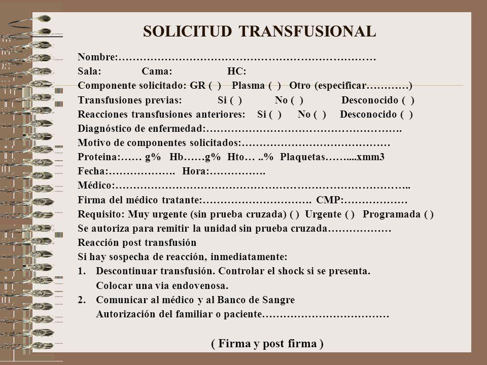 SOLICITUD TRANSFUSIONAL