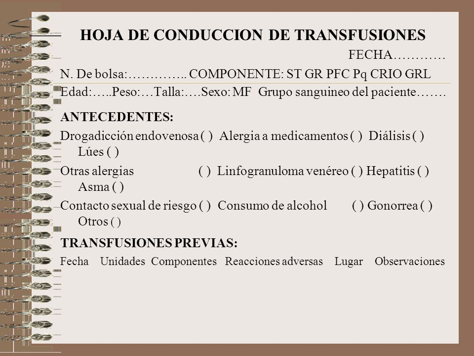 HOJA DE CONDUCCION DE TRANSFUSIONES